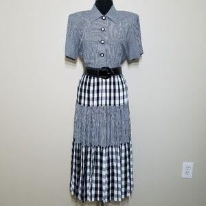 Retro 80's Dress Gingham Plaid Full Skirt Button 8
